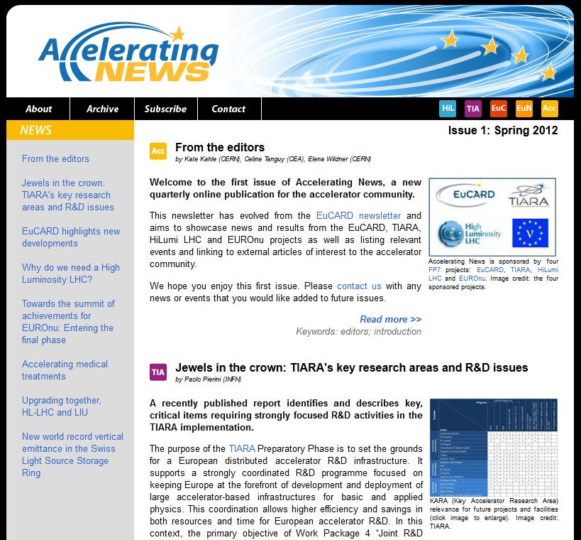 24 April 2012: First issue of newsletter Accelerating News released