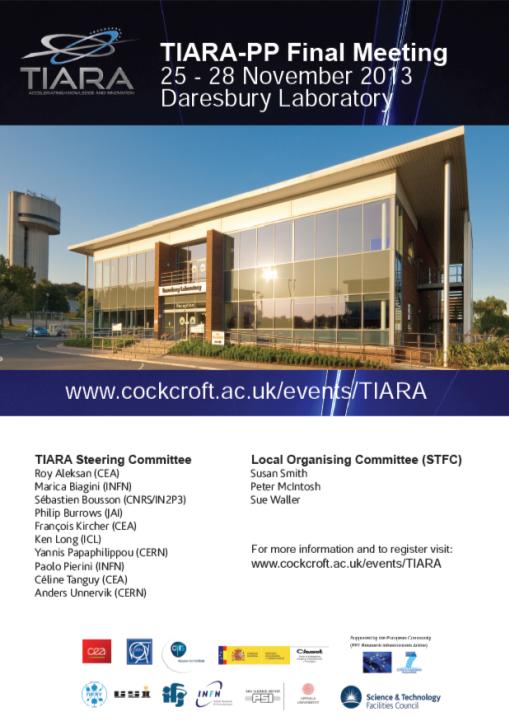 TIARA-PP final meeting at Daresbury on Nov.25-27 (28): Registration is now open >>